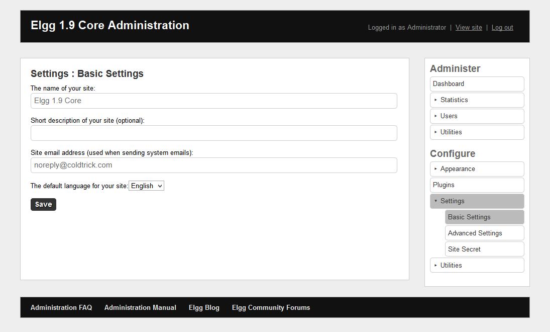 Basic site settings